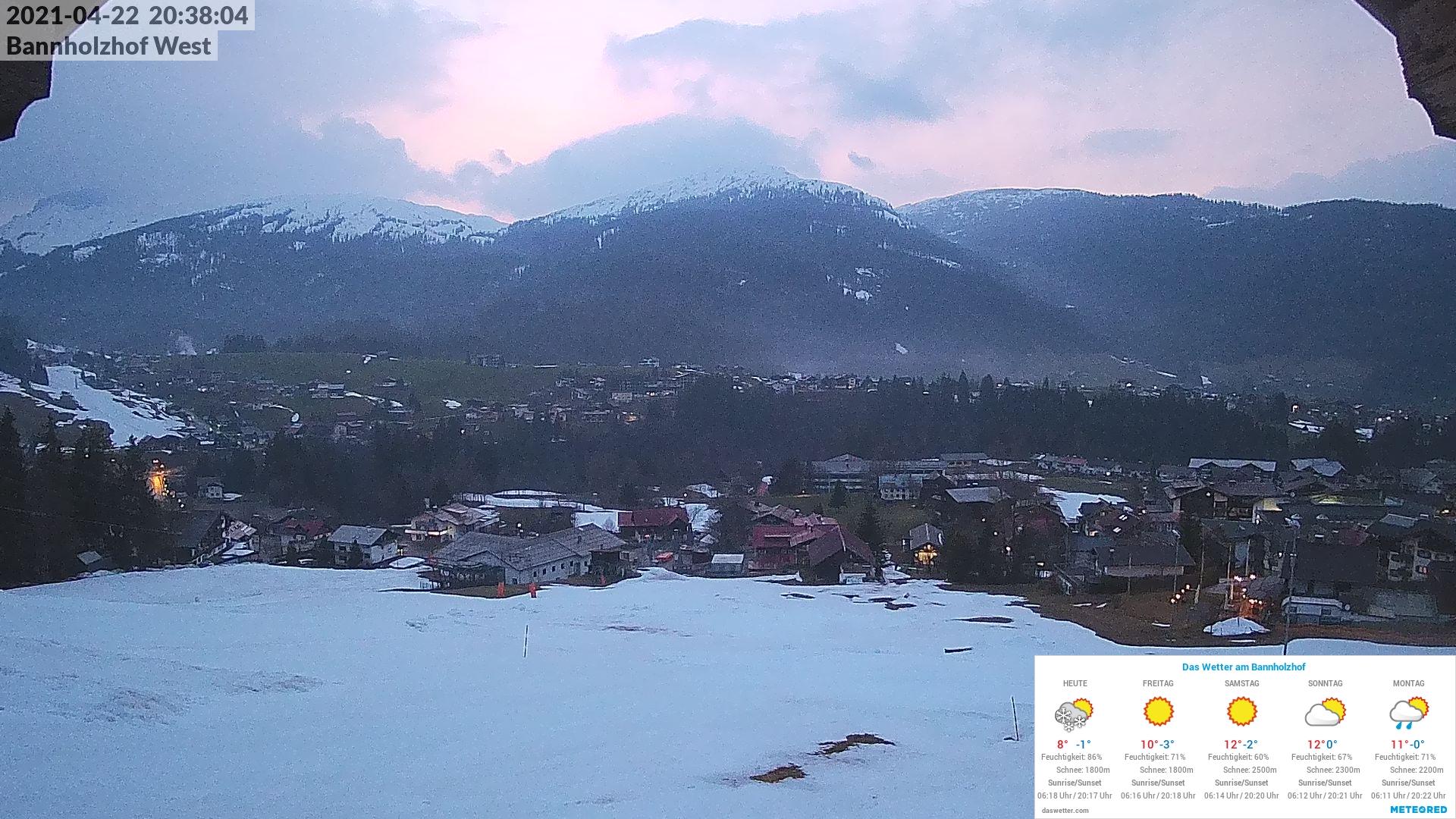 Aktuelles Webcambild vom Bannholzhof mit Wettereinblendung